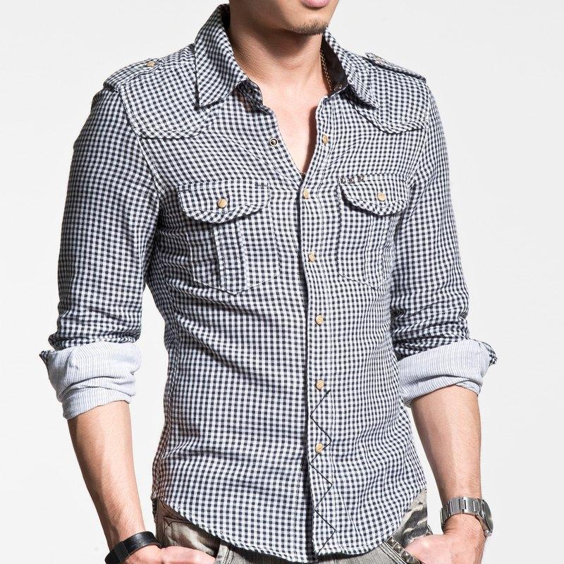 40支 精梳棉 雙層布 黑白 小格子 金字塔 撞釘 長袖襯衫(內層為條紋布)