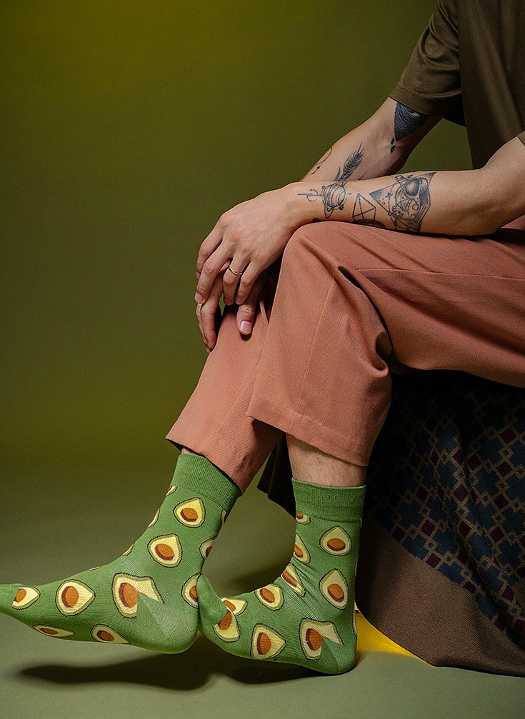 Avocado socks, tube socks, green cotton socks, trend stockings, street skateboard socks