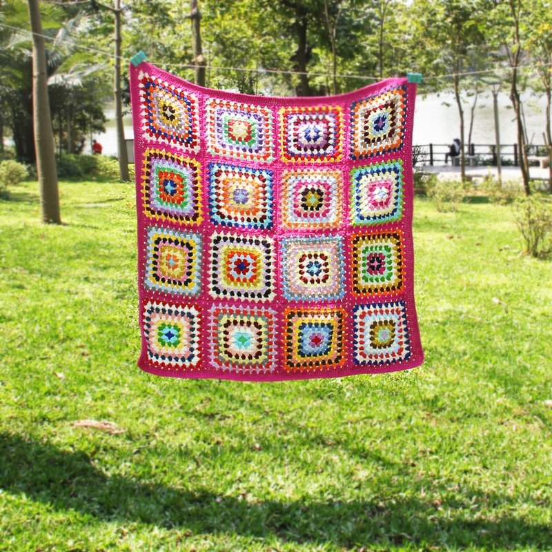 · crocheted blanket stitching picnic