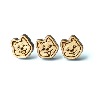 Plain wood earrings-Shiba Inu
