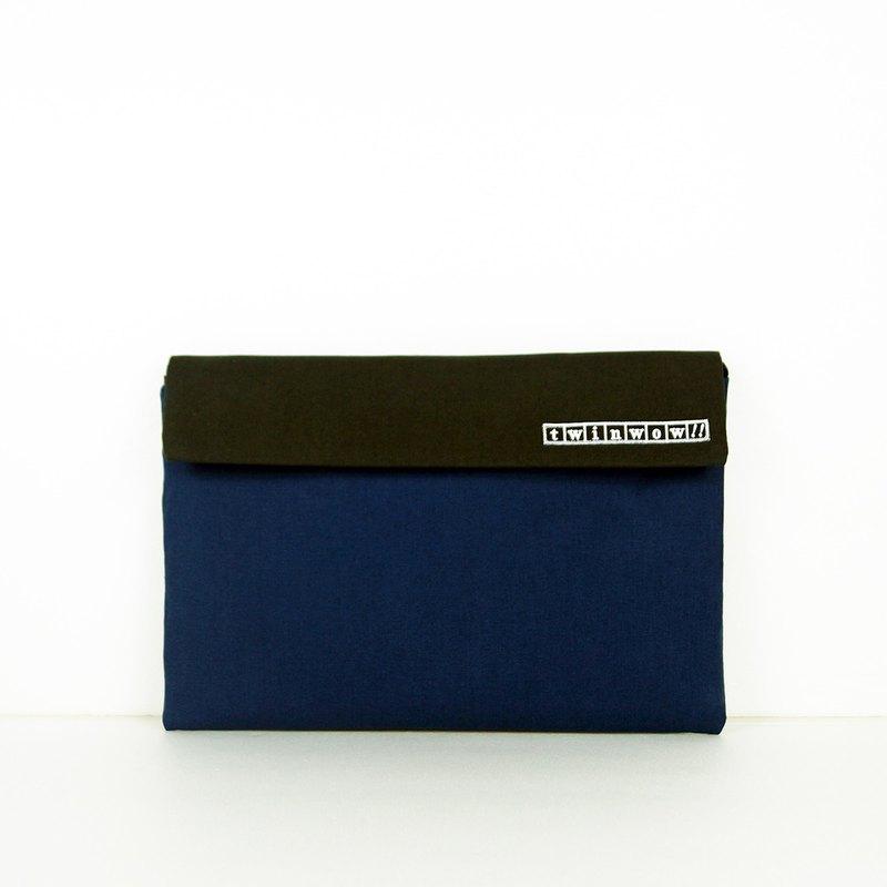 時尚筆記 - 細緻質感平板包 - 藍鐵灰