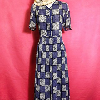 Checked edging chiffon short-sleeved vintage dress / brought back to VINTAGE abroad