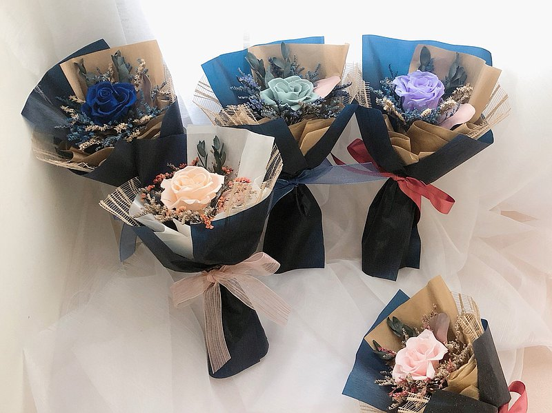 Everlasting Flowers Everlasting Rose Dry Flower Bouquet Opening Potted Flowers Graduation Gift Exchange Gift Lover