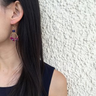 Handmade brass earrings (2cm loop)  |  Fairtrade sari silk  |  Ruby