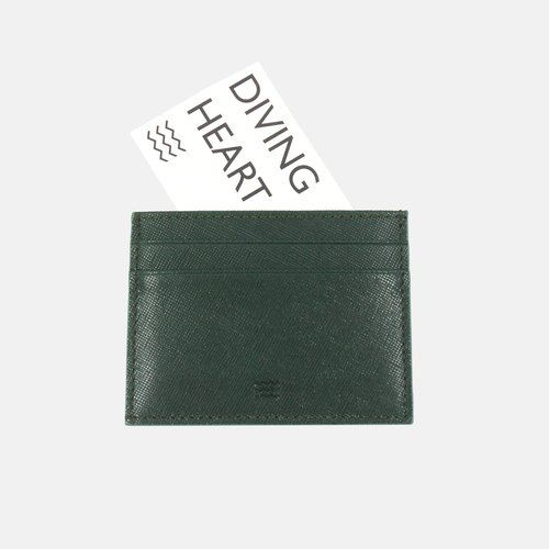 Diving Heart Green Leather Cardholder