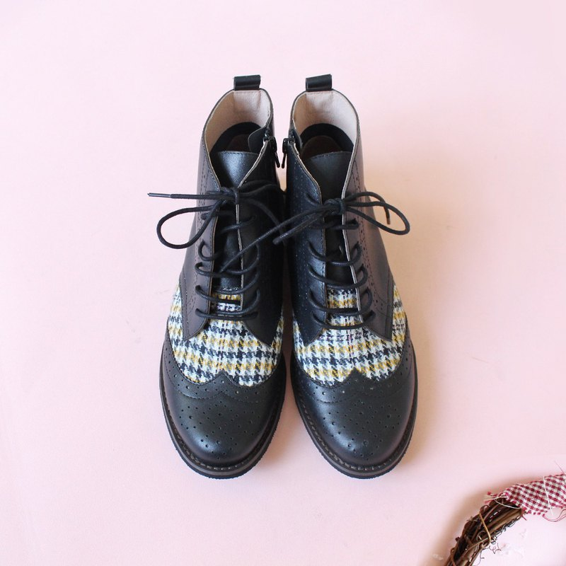 Check X leather Oxford lace-up boots/handmade/Japanese fabric/B2-18817L