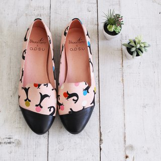 Pink daily oblique splicing Obella / handmade custom / women's shoes / Japanese fabric / M2-18624F