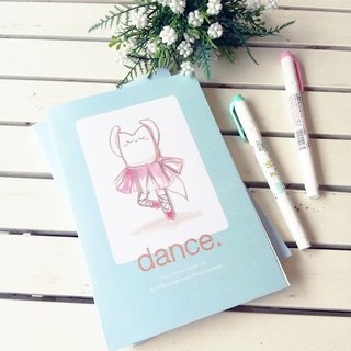 CUSTOM TEXT Notebook, Dancing Fox, Cute Light Blue Journal, Travel Diary, Gift for dancers, Dance lovers, Ballet Motivational Quote, Kawaii Hand-drawn Cat Animal