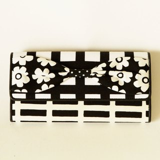 long wallet monochrome flower ribbon Script girl dots borders stripes plaid
