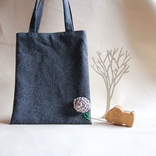Cotton Fabric: Canvas  bag,Knitting flower, dark gray