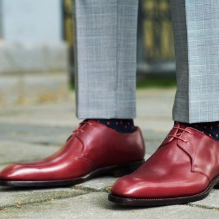 Burgundy Derby two hole Derby shoes Goodyear suture handmade