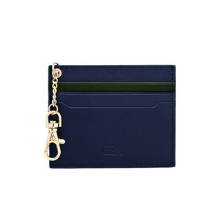 OBX 2-Tone Cardholder with Key Chain, Navy/Kale