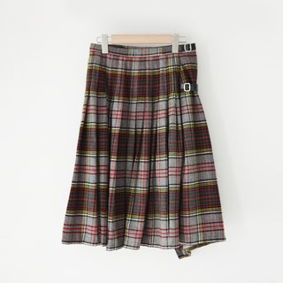 A ROOM MODEL - VINTAGE, Christian Dior red and green plaid wool skirt / CD-3265
