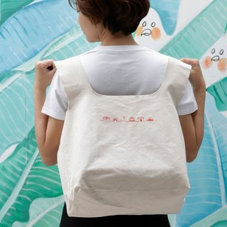 Canvas Bag with Embroidery Historic sites  / 3-way portable shopping bag / MIT