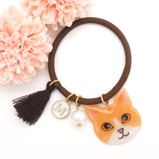 Meow handmade cat and cotton pearl hairband - yellow ad white cat