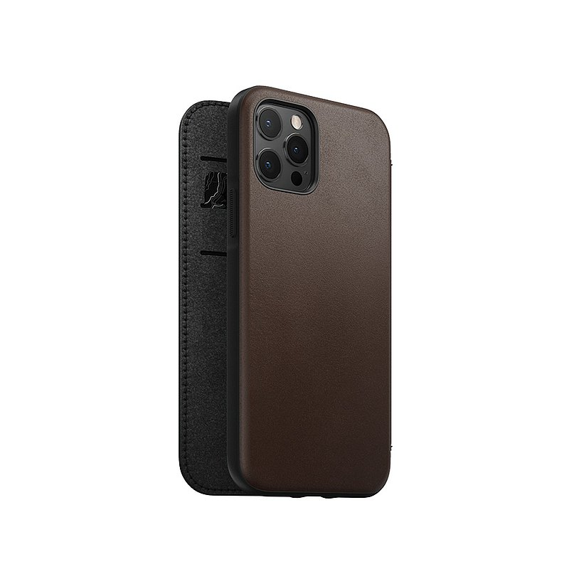 美國NOMAD經典皮革側掀保護套- iPhone 12 Pro Max -棕