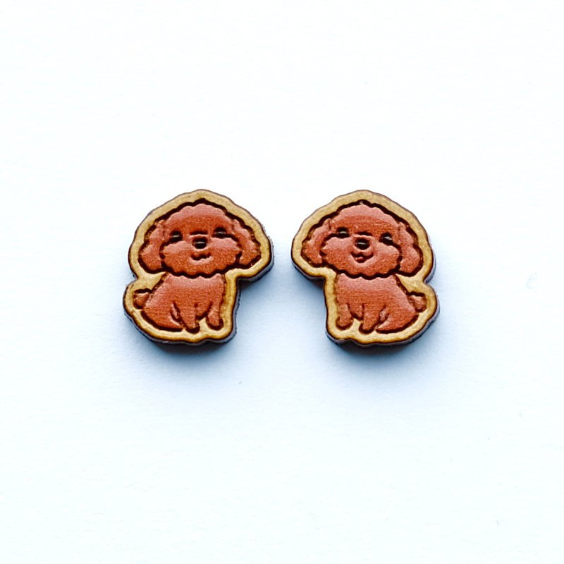 Painted wood earrings-Poodle Dog