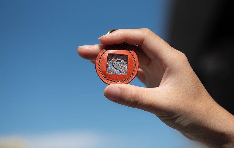 海棠花玻璃皮革鑰匙圈/掛飾