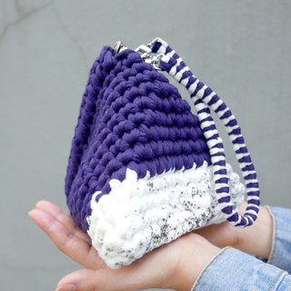Duo Color Triangle Handbag, crochet, knit, handmade (Inked / Indigo)