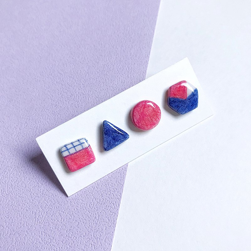 Small Geometric Series_Multicolor Combination-Handmade/Hand Painted Earrings
