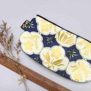 Peace Multi-purpose bag - Golden Lucky Flower Japan stamping cotton pen bag, cosmetic bag, glasses bag, storage bag