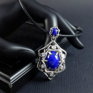 Waves - Lapis Lazuli Gold Plated Sterling Silver 925 (Gold Vermeil) Pendant