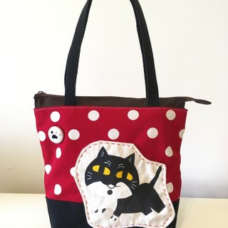 Cute collage wind cloth bag - black pills & red white dots