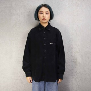 Tsubasa.Y Antique House A09 Pure Black Corduroy Shirt, Corduroy Shirt