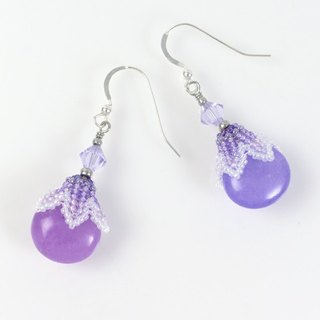 Purple drop earrings, floral jewerly, elegant, Swarovski crystal, gift, 400