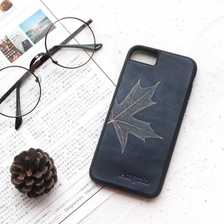 Dark blue maple leaf iphone 6 6s 7 8 plus x xs max xr leather phone case case