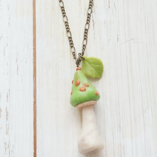 Green, Mushroom Necklace, Forest Jewelry, Gift for her, Christmas, Clay, Fairy Tales