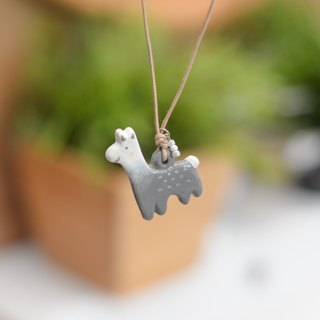 a little cute gray Alpaca handmade necklace from Niyome Clay