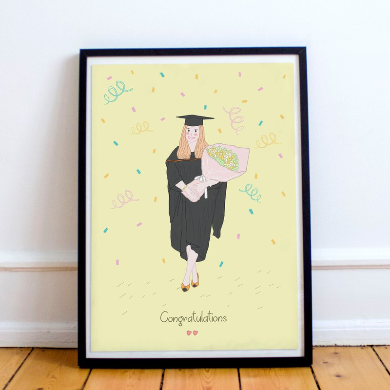Custom Illustrated for Special Day like Graduation /Anniversary/Birthday etc.
