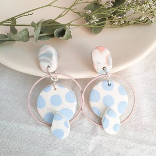 Polymer clay earrings- pastel polka dots drop studs/ear clips