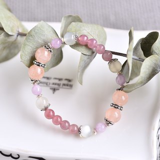 Madao Powder Crystal + Purple Lithium + Morgan Stone + Moonstone Silver Bracelet