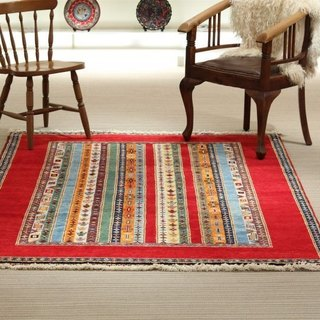 New jug design handmade carpet wool rug red 208 × 154cm