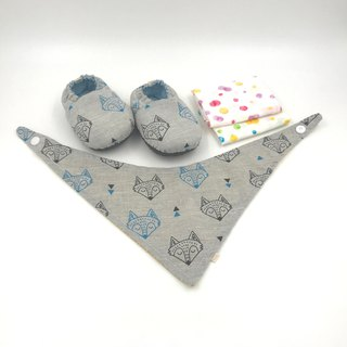眯眯 fox - Miyue baby gift box (toddler shoes / baby shoes / baby shoes + 2 handkerchief + scarf)