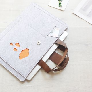 [Customizable] Original handmade light gray clouds raindrops felt blankets Microsoft computer protective sleeve jacket laptop computer bag Surface Book (can be tailored) - 021