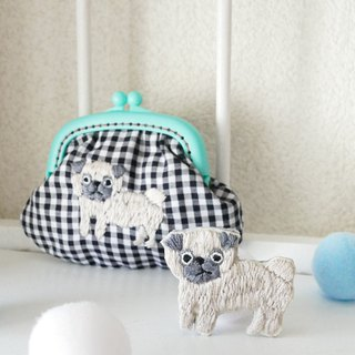 Embroidery witagichi Gingham check pug mint