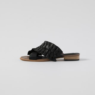 ZOODY / 蜻蜓 / handmade shoes / flat cross strap slipper / black