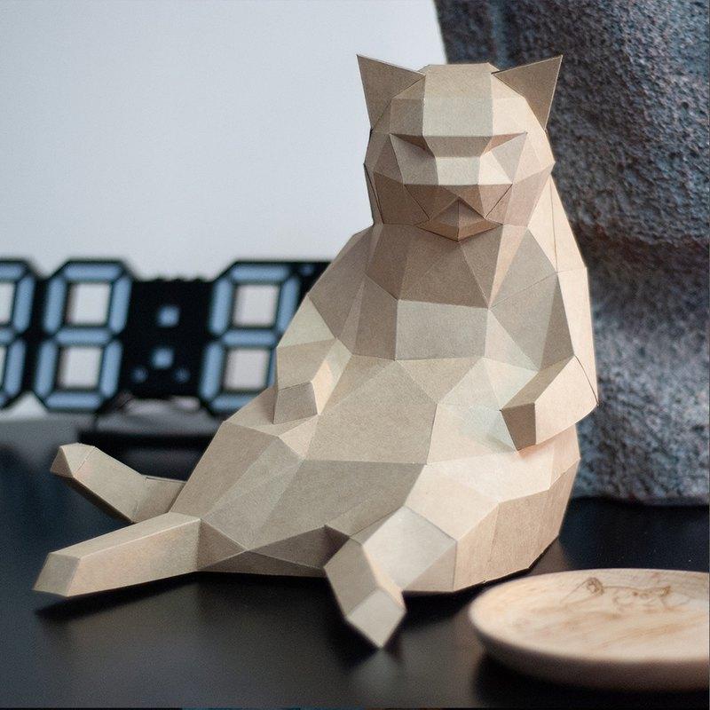 DIY手作3D紙模型擺飾 肥貓系列 -大叔坐胖貓 (4色可選)