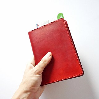 Red Leather Passport Cover/ Sleeve with Credit Card & boarding pass pocket