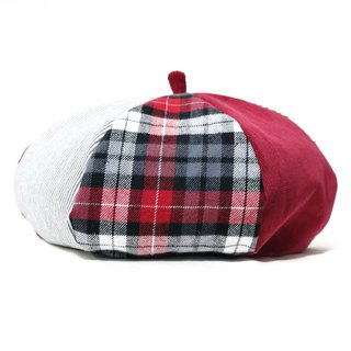 Red Department quilt handmade double-sided hexagonal hat painter hat
