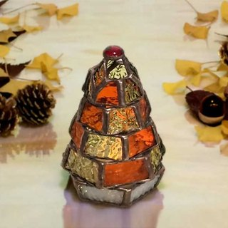 [Small fir tree lamp / autumn leaves ver.] Stained glass mini-lamp (with LED light)