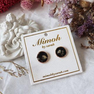 Black and White Pressed Flower Earrings
