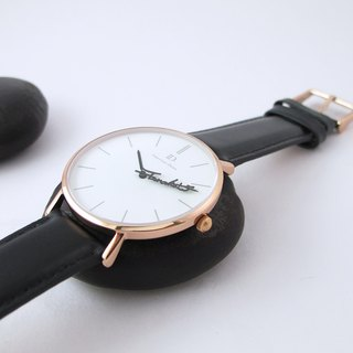 ID.watch Custom Name Pointer Watch - Quick Release Dark Leather