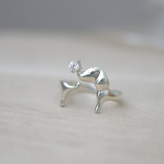[Jewelry] Jin Xialin ‧ chasing tail ring of sausage - the bulk of the silver-containing drilling Edition