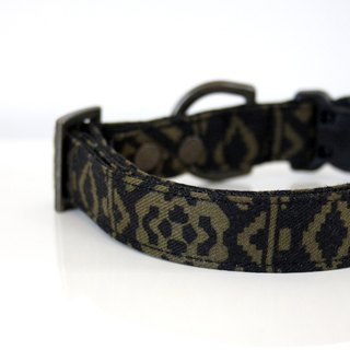 Southwestern Dog Collar - khaki, black - antique brass