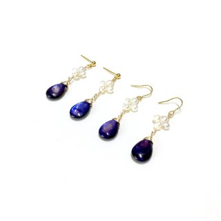 Can change ear clips. 【Deep Sea】dark blue drops & natural pearl earrings. Imported 18k gold ear hooks.