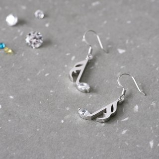 Music Note Earrings Hook Earrings 925 Sterling Silver